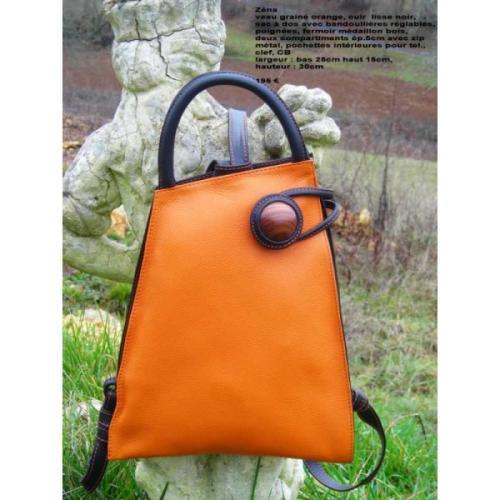sac cuir orange mod le z na salsacreations. Black Bedroom Furniture Sets. Home Design Ideas